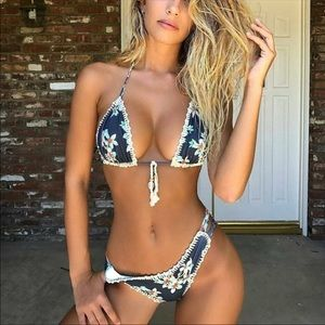 Other - Sexy Bikini with Floral Print & Crochet Trim